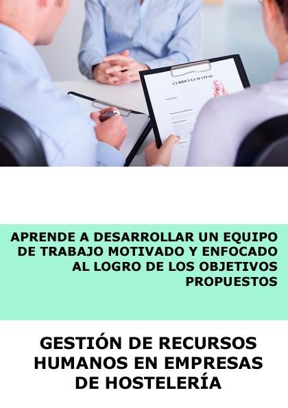 GESTION DE RECURSOS HUMANOS EN EMPRESAS DE HOSTELERÍA - A DISTANCIA
